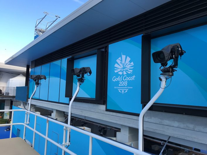 Specalist camera filming commonwealth games diving