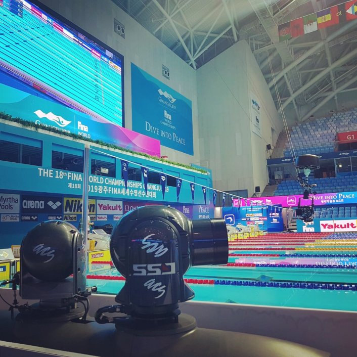 Specialist camera, FINA swimming, pooldeck, polecam, cablecam, camera, sport filming